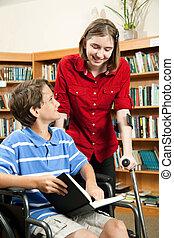 estudantes, com, incapacidades