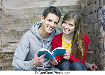estudantes, com, livro