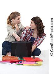 estudantes, com, um, laptop
