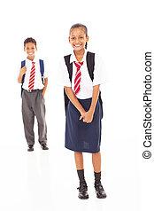estudantes, comprimento, cheio, escola, primário