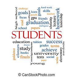 estudantes, conceito, palavra, nuvem