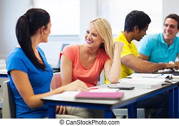 estudantes, conferência, universidade, corredor, conversando