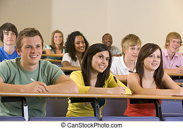 estudantes, conferência, universidade, faculdade, escutar