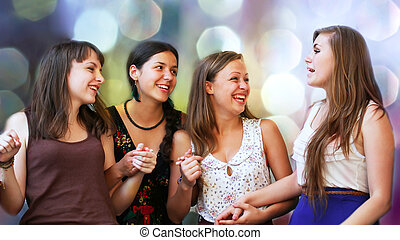 estudantes, conversação, meninas