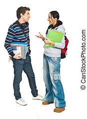 estudantes, conversação, par, tendo