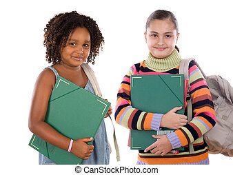 estudantes, crianças escola, dois, retorno