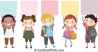estudantes, crianças, stickman, tábua