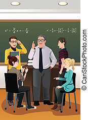 estudantes, discussão, tendo, seu, professor faculdade