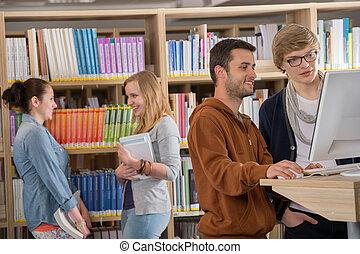 estudantes, discutir, grupo, biblioteca