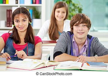 estudantes, em, faculdade