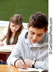 estudantes, em, lição