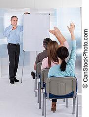 estudantes, ensinando, professor, maduras
