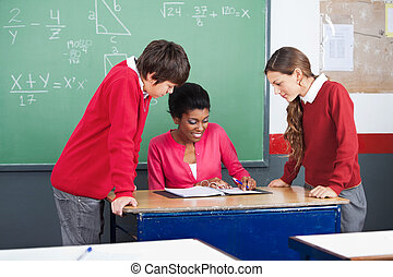 estudantes, ensinando, professor, matemática