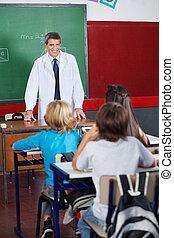 estudantes, ensinando, sala aula, professor