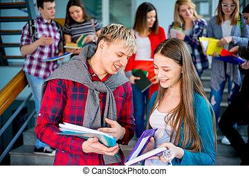 estudantes, escadaria, universidade