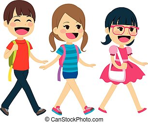 estudantes, escola, costas, andar