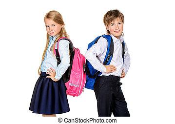 estudantes, escola, dois