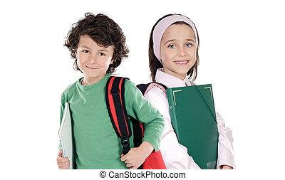 estudantes, escola, dois, retorno