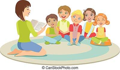 estudantes, escola elementar, história, escutar