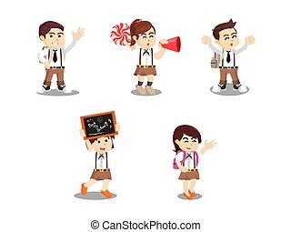 estudantes, escola, jogo, caricatura