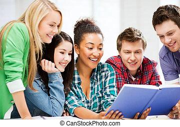 estudantes, escola, livro leitura
