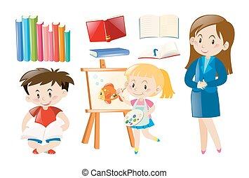 estudantes, escola, objetos, professor