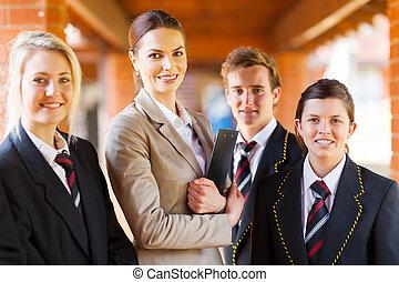 estudantes, escola secundária, grupo, professor