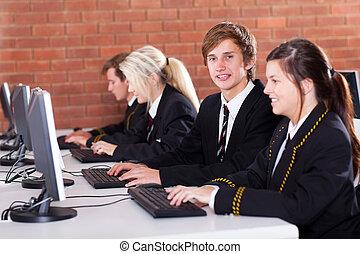 estudantes, escola secundária, quarto computador