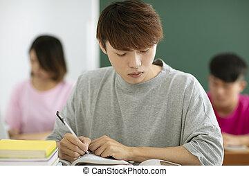 estudantes, estudar, macho, sala aula