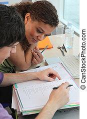 estudantes, exame, preparar, dois