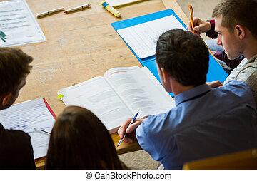 estudantes, faculdade, anota escrita, biblioteca