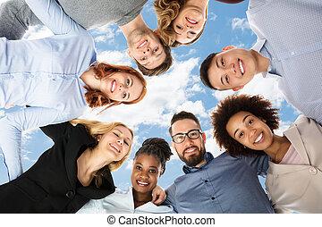 estudantes, faculdade, huddle, grupo, formando