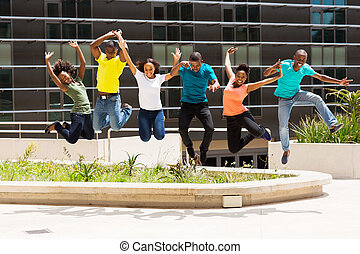 estudantes, faculdade, pular, grupo, africano