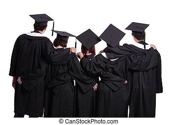 estudantes, graduado, vista traseira