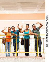 estudantes, grupo, faculdade, waving