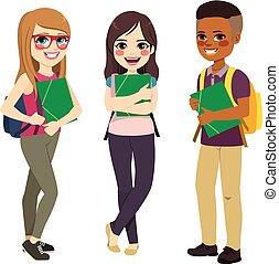 estudantes, grupo, ficar