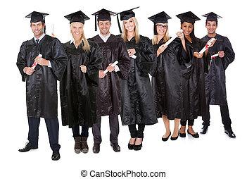 estudantes, grupo, graduado