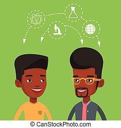 estudantes, ideas., compartilhar