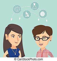 estudantes, ideas., compartilhar, jovem, caucasiano