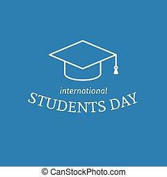 estudantes, internacional, dia, cartaz