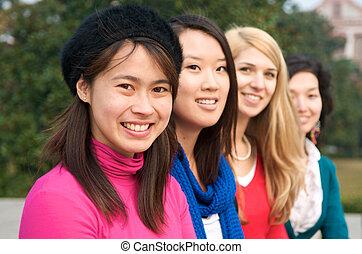 estudantes, internacional, feliz