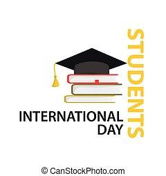 estudantes, internacional, vetorial, dia, illustration.