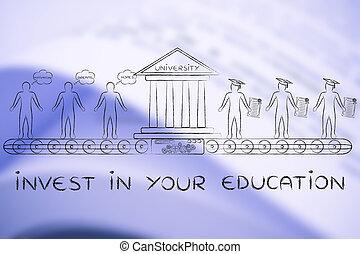 estudantes, investir, seu, educação, diplomados