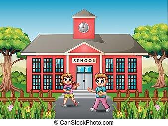 estudantes, ir, feliz, manhã, escola