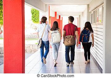 estudantes, ir, grupo, classe