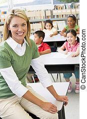 estudantes, jardim infância, professor, classe