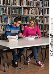 estudantes, junto, biblioteca, jovem, trabalhando