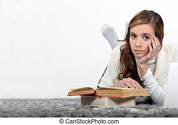 estudantes, leitura, casa