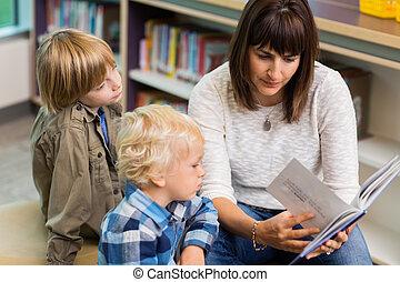 estudantes, livro, leitura, biblioteca, professor