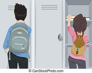 estudantes, locker
